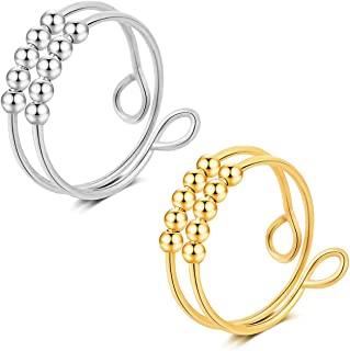银色可调节Fidget 戒指,缓解*戒指,DIY 防心串珠戒指万向轮戒指,送给女士男士女孩的礼物