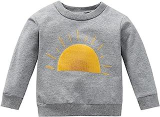 婴儿幼儿女婴长袖衫 毛衣太阳印花运动衫套头上衣 秋冬衬衫服装