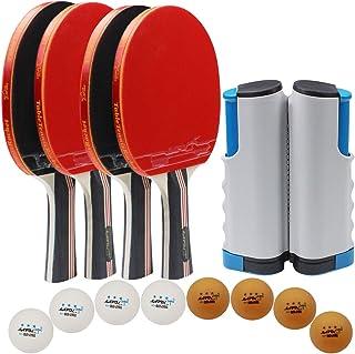MAPOL 乒乓球拍套装 - 乒乓球拍适合 4 名玩家 - 4 个装高性能球拍,8 个高级 3 星球,可伸缩网,便携式收纳袋