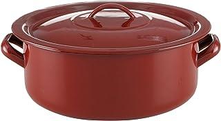 Quid 砂锅 24厘米 带经典盖子,搪瓷钢,棕色
