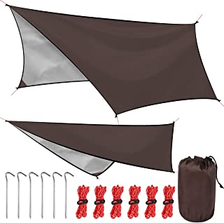 LadyRosian 野营防水布、雨布、多功能帐篷脚、带绳露营布、便携袋和露营地桩、野餐、棕色,9.4 x 9.3 英尺