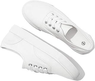 yageyan 女式帆布鞋白色时尚休闲运动鞋经典网球鞋步行