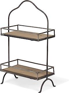 Red Co. 双层咖啡馆铁制展示架,带杉木架整理厨房收纳架,10.5 x 6 x 18 英寸(约 26.7 x 15.2 x 45.7 厘米)