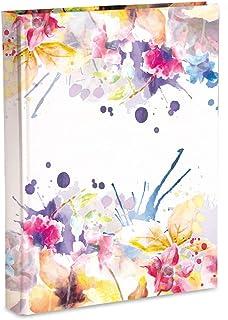 Mareli 相册带口袋,带磨砂塑料涂层,印花纸张,花朵图案,200张照片13x18