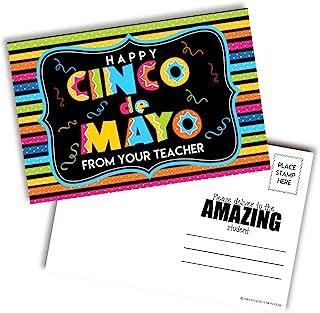 明亮多彩的 Happy Cinco de Mayo 空白明信片,适合教师送到学生,10.24 厘米 x 15.24 厘米 AmandaCreation 填写记事簿 (30)