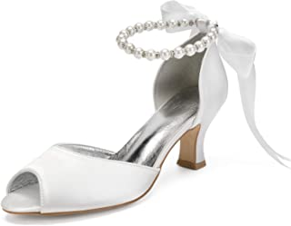 LLBubble 女式高跟缎面珍珠婚礼鞋露趾丝带正式派对礼服高跟鞋 6571-6