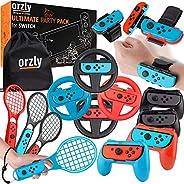 Orzly 派对包配件套装专为 Nintendo Switch 控制台设计,配有控制器和赛车轮、手腕舞带、网球拍 - (具有 16 个派对附件和便携袋)
