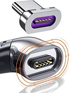 USB C 磁性充电适配器 Type C 直角连接器 100w PD 充电器 480Mbp/s 数据传输 兼容 MacBook Pro/Air 智能手机平板电脑 USB-C 设备 黑色