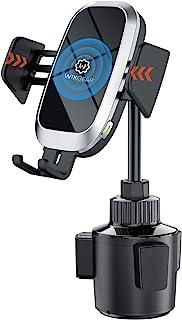 无线车载充电器,WixGear 自动夹紧快速无线车载充电器,汽车杯座手机支架,10W Qi 快速充电兼容 iPhone 11,Xs/MAX/XS/XR/X/8/,三星 S10/S9/S8 全自动臂