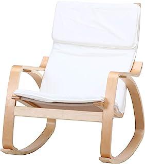 不二贸易 摇椅 木制 躺椅 放松椅 细长 象牙色 40817