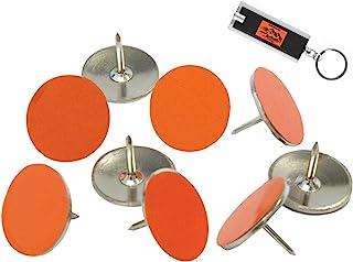 橙色反光钉(100 支装)越野标记钉、发光钉、徒步标记、越野标记反光条、用于狩猎的标记反光拇指钉、橙色钉子