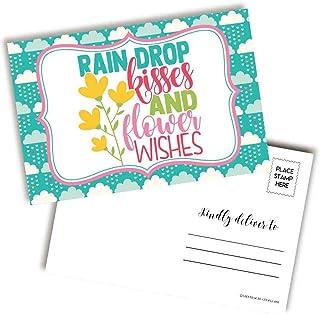 AmandaCreation 的雨滴亲吻和花朵祝福明亮多彩空白明信片,可发送给朋友和家人,10.16 厘米 x 15.24 厘米填写记事簿 (20)