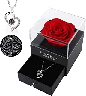 Preserved Rose with I Love You 项链 100 种语言,珠宝盒套装,浪漫真玫瑰,生日礼物,永生玫瑰,情人节,母亲节,鲜玫瑰。(红色)