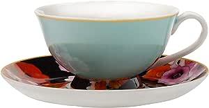Maxwell Williams Cashmere Bloems 茶杯和茶托,礼盒,骨瓷 蓝色/黑色 200 ml DX0175