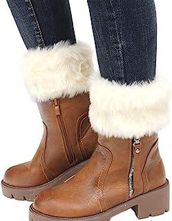 FAYBOX 女士冬季人造皮草靴袖口针织护腿短裤
