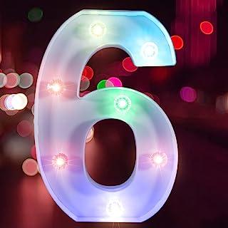 彩色字母灯 LED 字母灯 适用于酒吧、钻孔灯珠派对、字母灯照明(电池供电)(数字 6)