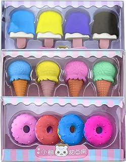 Erasers Gifts 8 件 3D 铅笔橡皮擦彩色甜圈冰淇淋食品橡皮擦礼盒 派对礼品 学校用品 课堂*和嘉年华礼品