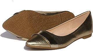 女式一脚蹬平底鞋 尖头船带装饰 皮革婚礼芭蕾鞋