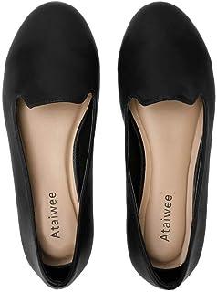 Ataiwee 女式宽幅平底鞋 – 舒适圆头经典可爱一脚蹬芭蕾平底鞋。