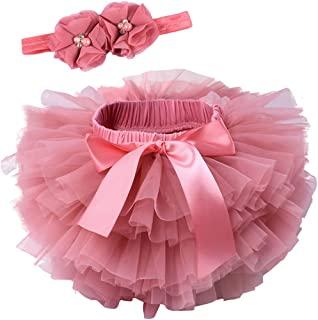 婴儿女婴荷叶边蓬蓬蓬裙开胸尿布套薄纱裙和花朵串珠头带套装