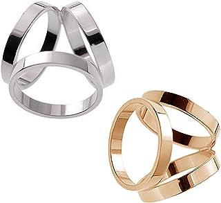 2 件套:黄金 + 银色金属极简主义 3 环围巾环夹