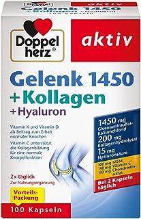 Doppelherz Gelenk 1450+ 胶原蛋白 + 透明质酸-维生素 K 和维生素 D 有助于维持正常骨骼-1 x 100 粒胶囊