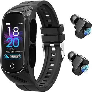 带麦克风的耳塞智能手表 – 8 合 1 触摸控制智能手环 TWS 耳机双耳机通话,照片控制,*,单声道模式心率监测器,适用于运动、男士和女士。