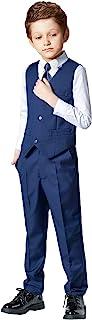 SaiLiiny 男孩 4 件套修身套装背心套装黑色蓝色正装男童