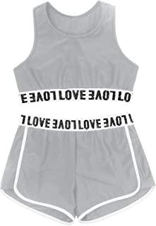 TACKTIMES 2 件套女童无袖露脐上衣带短裤套装适用于运动紧身衣舞蹈游泳体操舞蹈服