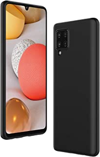 Cresee 兼容三星 Galaxy A42 5G 手机壳,超薄硅胶保护套,带超细纤维内饰防刮超薄贴合灵活手机壳 - 黑色