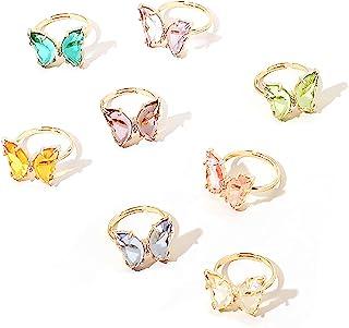 8 件精致蝴蝶戒指套装亚克力水晶彩色袖口开口可调节尺寸适合女性女孩、青少年可爱动物首饰