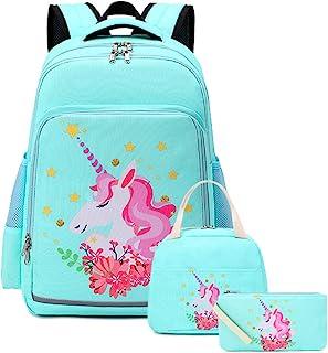 """学生女孩背包青少年书包套装 儿童书包 15 英寸笔记本电脑背包 水蓝色星星 11.8""""x6.7""""x17.3"""""""