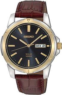 SEIKO 男式双色皮革表带蓝色表盘太阳能手表