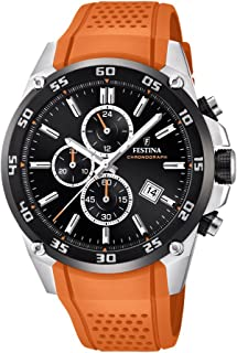 Festina 'The Originals 系列'男式石英手表黑色表盘计时显示器和橙色橡胶带 F20330/4