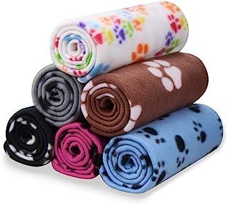 Comsmart 宠物毛毯 狗猫软羊毛毯 睡垫 床垫 床罩 带爪印 适用于小猫小狗和其他小型动物,6件装 39x35英寸