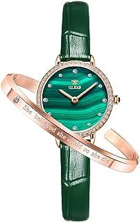 OLEVS 女式手表钻石小号*表盘腕表女士女孩优雅经典模拟石英防水手表手链套装礼品