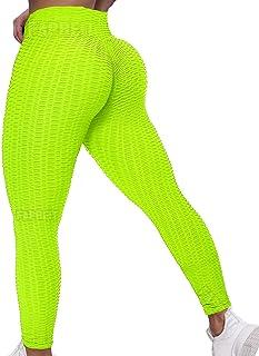 Fapreit 抗*团纹理提升紧身裤女式高腰瑜伽裤锻炼蜂窝褶饰紧身裤