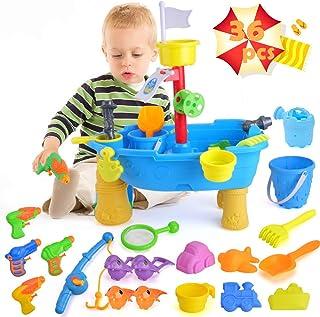 unanscre 36 件套沙水桌,适用于幼儿,带沙滩沙玩具,磁性钓鱼游戏,可爱水手枪,婴儿水上活动游戏桌,儿童礼物,3 岁以上男孩和女孩户外玩具