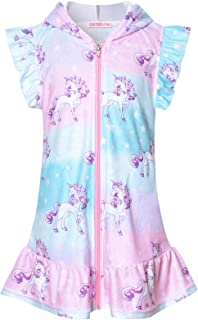 CHILDRENSTAR 女孩游泳罩衫 Terry 泳衣罩衫 拉链沙滩飘袖长袍