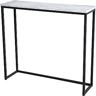 Tilly Lin 现代风格仿大理石控制台桌,黑色金属框架,适用于走廊入口客厅,入口大厅家具,卡拉拉