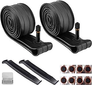 Wrdlosy 2 件 26 英寸(约 66.0 厘米)自行车管,丁基橡胶自行车管,带 2 个轮胎杆和 8 个轮胎补丁,易于安装,适合 26 × 1.75/2.125 自行车和山地自行车