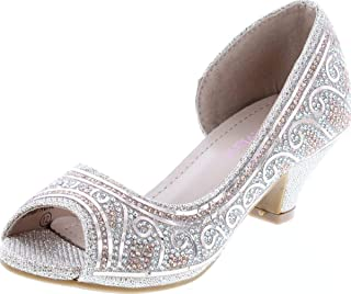 Bella Marie 女童闪亮水晶闪光露趾低跟浅口高跟鞋