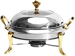 擦伤盘子 不锈钢圆形耐用自助餐加热托盘 耐用框架 带盖子和擦伤燃油架 适用于厨房派对 自助餐 无水盘 (1 包带手柄)