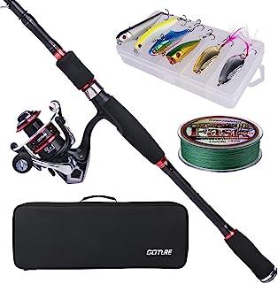 Goture 钓鱼竿套装 24T 碳纤维 伸缩钓鱼竿 带卷轴组合 鱼竿套装 适用于鲈鱼 淡水海水