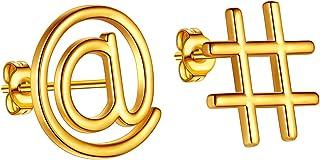 Beautlace 数学符号耳钉耳钉 18K 金/银/黑色枪镀时尚简约设计珠宝 适合数学老师男女 KE0031