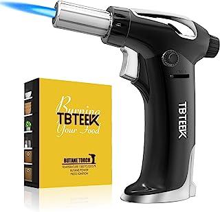 TBTEEK 丁烷手电筒,适用于所有水箱吹火炬,带*锁和可调节火焰,用于烹饪、烧烤、烘焙、Brulee 奶油、DIY 焊接(不含丁烷)
