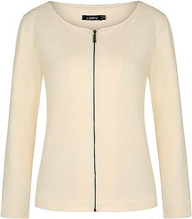 女式休闲长袖西装外套拉链夹克轻质工作办公室西装开襟开衫