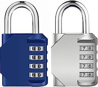 Emoly 2 件装组合锁 4 位数字挂锁 适用于学校健身房储物柜 运动储物柜 栅栏 工具箱 臀部存储(蓝色和银色)