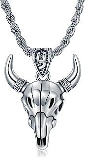 CEKAMA 男士狮子项链 纯银老虎/龙/牛/狼牙齿吊坠项链 氧化动物项链 适合青少年男孩