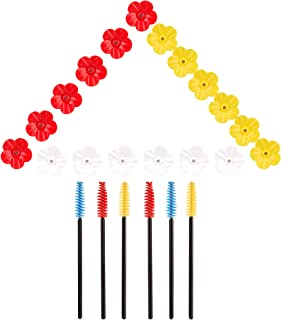 Shitailu 24 件彩色蜂鸟喂食器替换花,喂食端口替换鸟类喂食器替换零件,带 6 个清洁刷(白色/黄色/红色)